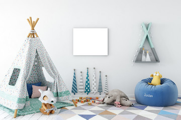 mock up wall in child room interior. Interior scandinavian style. 3d rendering, 3d illustration