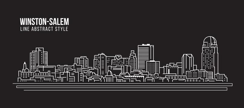 Cityscape Building Line art Vector Illustration design - winston-salem city