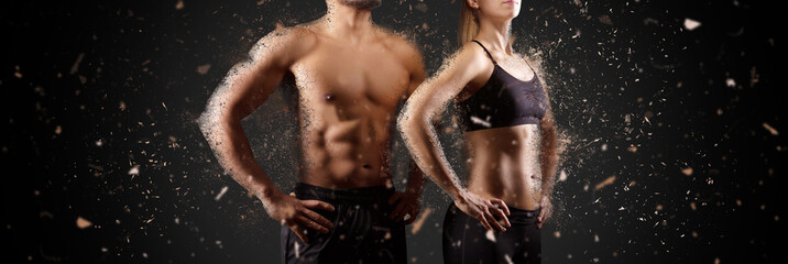 Creating perfect muscular male female upper body