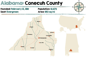 Large and detailed map of Conecuh County in Alabama