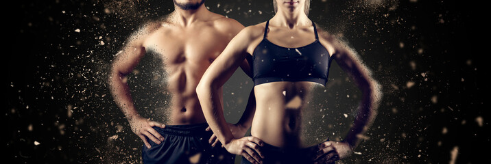 Creating perfect muscular male female upper body