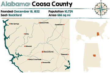 Large and detailed map of Coosa County in Alabama