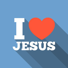 I love jesus icon with long shadow, flat design