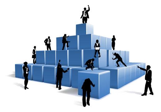 Business People Silhouettes Team  Building Blocks