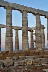 Temple of Poseidon at Cape Sounion Attica Greece at sunset