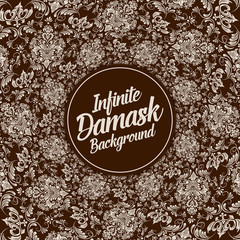 Vector infinite damask background. Classical luxury old fashioned damask ornament, royal victorian texture for wallpapers, textile, wrapping. Exquisite floral baroque template.