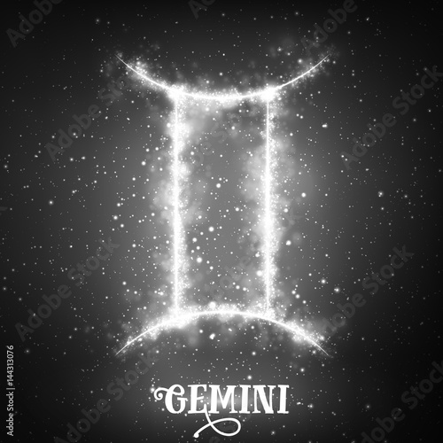 Vector abstract zodiac sign Gemini on a dark background of