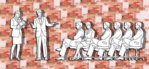 Бизнесмены на фоне денег