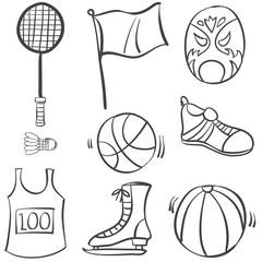 Doodle of sport hand draw equipment