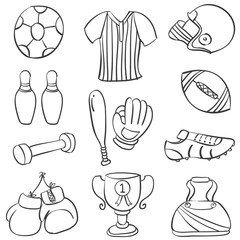 Doodle of sport equipment collection