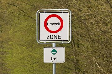 Schild Umweltzone, grüne Plakette
