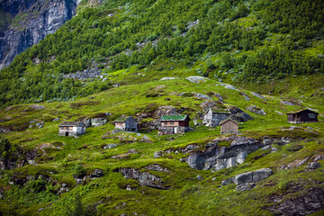 Small houses with grass roofs in Norway in summer