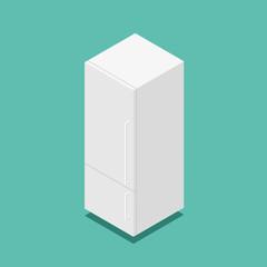 3d isometric vector classic white home fridge