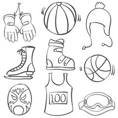 Doodle of sport equipment black white