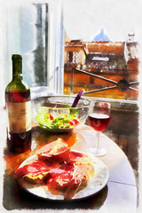 Colorful painting of italian dinner