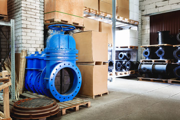 blue metal shut-off valve for gas pipelines. Sliding knife gate valve Shutoff and control valves. boxes. fitting. Warehouse of pipe factory