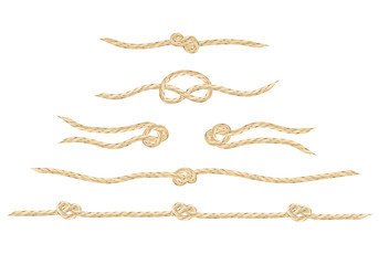 A set of realistic vector linen string knots. An illustration of different types of knots and linen string patterns.