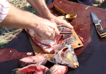 Cutting fish with a knife into pieces