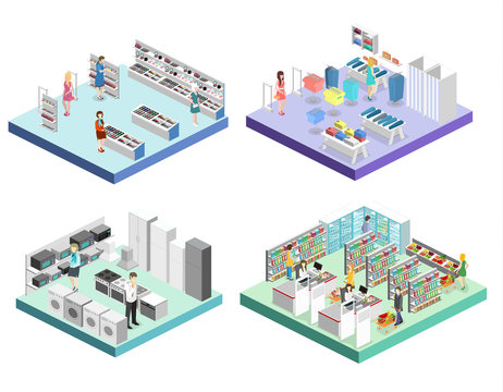 isometric interior shopping mall, grocery, computer, household, equipment store.