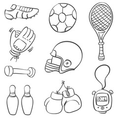 Doodle of various sport equipment