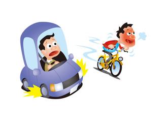 交通安全イラスト、自転車の飲酒運転