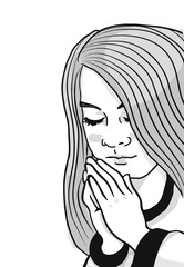 A black and white illustration of a young girl with her hands folded saying her prayers.