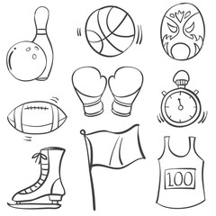 Collection of sport equipment hand draw