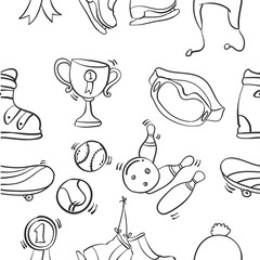 Collection of sport equipment illustration