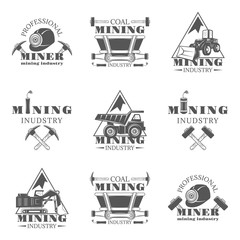 Mining industry set of vector monochrome vintage emblems, labels, badges and logos isolated on white background.