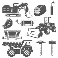 Set of icons Mining industry in monochrome vintage style with professional tools and machineries