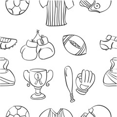 Pattern sport equipment hand draw