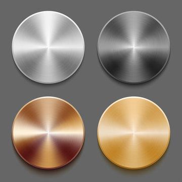 Set of templates metal button