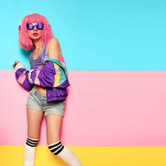 Playful Stylish Girl DJ. Rave, house, digital party Music and fitness vibrations. Clubbing Minimal...