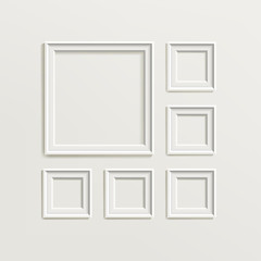 Blank Picture Frame Template Composition Set. Gallery Interior With Empty Wooden Frames Indoor Vector Design
