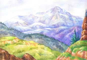 Watercolor landscapes. Hand-drawn painting. View from above