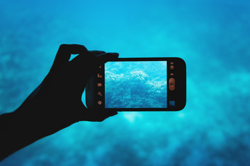 photographing with a smartphone in the red sea