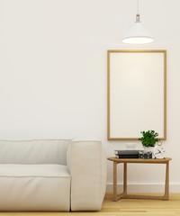 Living room and frame for artwork clean design-3D Rendering