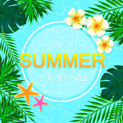 Summer sale Concept. Summer background with tropical flowers. Template Vector
