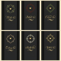 Vector set of cards with a variety of tea. Invitation or gift card with elegant typography and cup of tea in monogram element. Elegant tea label or cover.