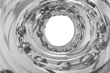 Realistic glass whirling bearing in the bearing white background. 3d rendering