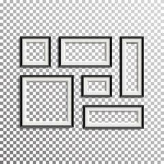 Blank Picture Frame Template Composition Set Vector Illustration. Transparent Background