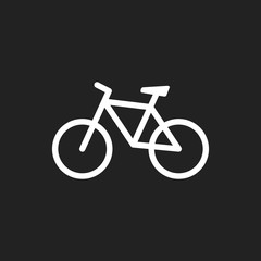 Bike icon on black background. Bicycle vector illustration in flat style. Icons for design, website.