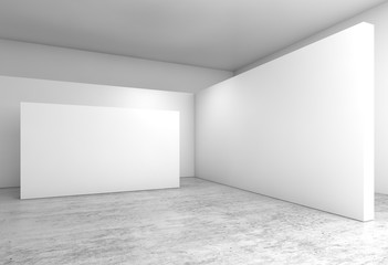 Abstract empty interior, white walls installation 3 d