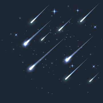 Vector star meteor falling in dark. Comet or asteroid science background. Galaxy astronomy background illustration