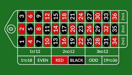 Casino roulette table illustration. Green gambling roulette table with numbers