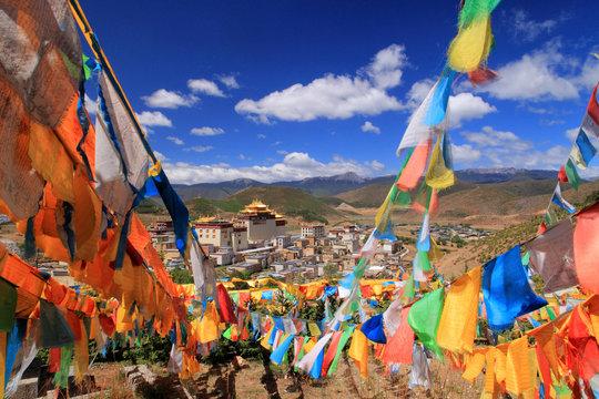 Ganden Sumtseling Gompa. Monastery near Shangri-la in Yunnan