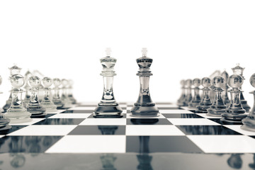 Chess set, victory, transparent glass figures, on a chessboard, 3d rendering