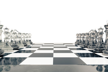 Concept of board games, chess fights isolated on white background, 3d rendering
