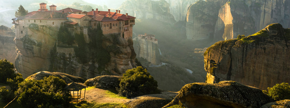 Mysterious hanging over rocks monasteries of Meteora, Greece