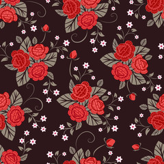 Seamless red and brown rose flower vector pattern.